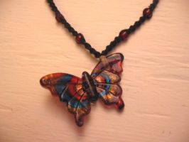 Butterfly Pendant Necklace 1 by randilittlekitty