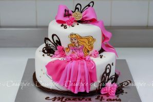 Hand drawned sleeping beauty cake by buttercreamfantasies