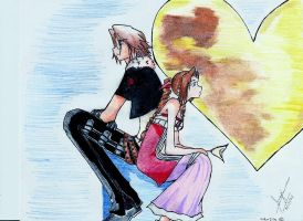 Leon and Aerith by oblivious-life