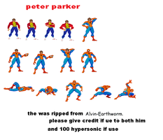 peter parker sprite sheet by 100hypersonic