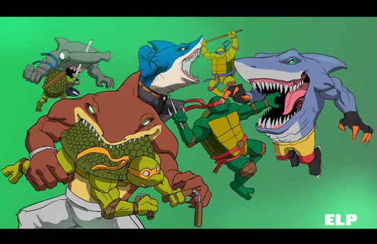 Street Shark versus Ninja Turtles by SketchMonster1