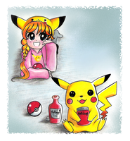 pikachu with ketchup + trainer by NeonGenesisEVARei