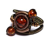 Steampunk Amber Orbit Ring by CatherinetteRings
