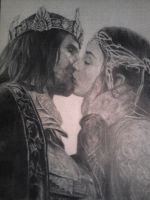 Arwen And Aragorn - The Kiss by Daphneven