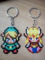 Link and Zelda keychains by DisasterExe