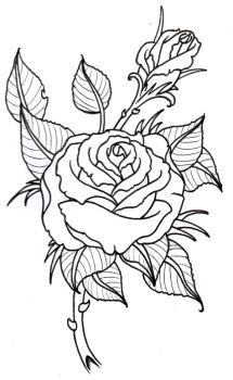Rose Outline by vikingtattoo