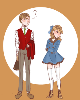 Genderbend Professor Layton: Clive and Flora by applesandpeaches