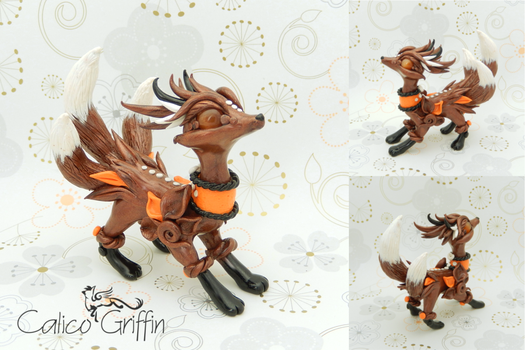 Kitsune - Estrella serie - polymer clay by CalicoGriffin