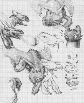 Angry Toothless - Pen Sketches by MonoFlax