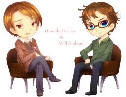 Chibi Hannibal Lecter And Will Graham by ibahibut