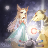 In the Glitter Lighthouse (Jasmine and Ampharos) by PyuaNaito