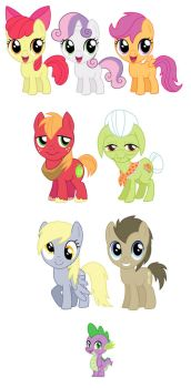 My Little Pony Sets 4-6 and Spike by cosplayscramble