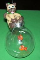 Siamese cat and fish ornament by ladytech