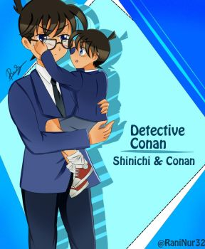 Shinichi and Conan: Wearing glasses by PeachPink7
