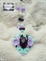 Bunny Garden necklace in violet by Galadriel89