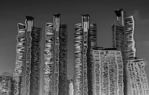 Cobra Towers in Reflection BandW by David-Will