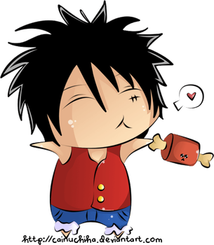 Luffy and Meat by CainUchiha
