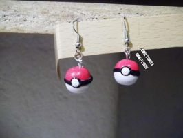 PokeBall Ear Rings! (Polymer Clay) by emokitten687