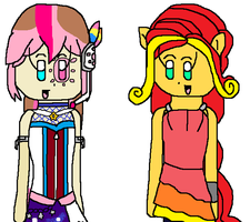 AT: Rainbow Rocks: Amanda and Sunset Shimmer by angelthewingedcat