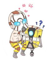 Borderlands - Psycho and Claptrap Chibis by TheGoodDoktor