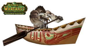 WoW Tauren In A Canoe Cut Out by atagene