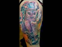 Pretty Owl with Stars tattoo done by Sean Ambrose by seanspoison