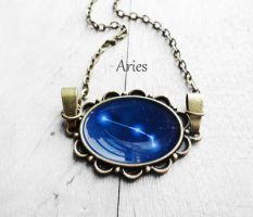 Handmade Resin Aries Bronze Oval Necklace by crystaland