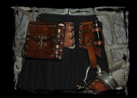 steampunk pirate leather belt by Lagueuse