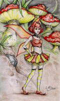 Toadstool Fairy (colored) by SarembaArt