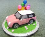 Pink Mini Cooper by ginas-cakes