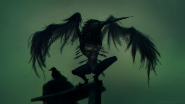 Painted World of Ariamis - Crow Demon by sohlol