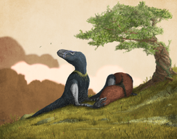 Tyrannosaur Sleepytime by Mark Witton by Ikechi1