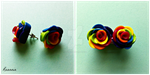 Rainbow Rose Earrings by Rhiannon-San