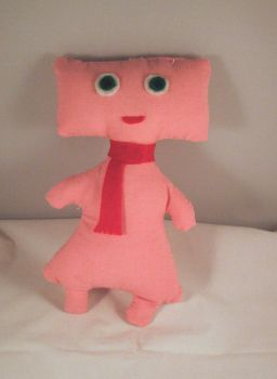 Girly pink robot with scarf by Emmylu91