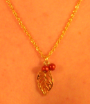 Gold Leaf Necklace (Red Bead Variant) by kadajs-kitsune