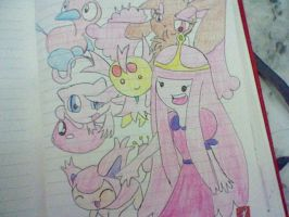 Princess Bubblegum and her pokemon by CaramelCreampuff