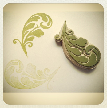 Plant Hand Carved Rubber Stamp by mightydumpling