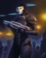 space chick with a gun by miss-dronio