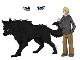Me as wolf and human by musicwolfey