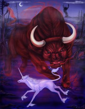The Red Bull vs the Last Unicorn by arania