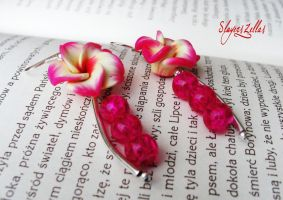 Polymer clay earrings with multicolor flowers by Benia1991