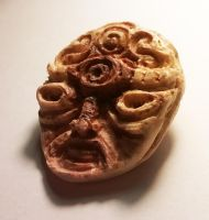 Hand-carved Hardwood Abstract Face by idFREEK