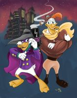 Darkwing Duck and Launchpad McQuack by KneonT