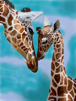 Giraffee Kisses In blue by BellaLyle