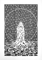 In The Rain -- Papercutting by mossy-tree