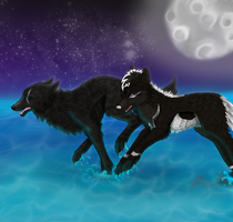 Comm - running in the light of the moon by Ashenee