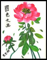 red chinese flower by lovelylittlesunshine