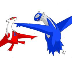 Latias and Latios COLORED by deadvenom-x