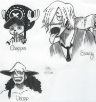 Chopper, Usopp and Sanji - One Piece by Muffinsan7
