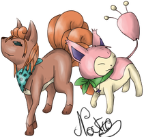 Contest Vulpix and Skitty by UmbreoNoctie